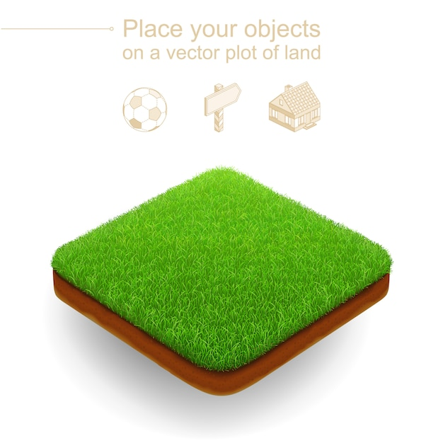 Pedaço de jardim. vetor 3d realista. lote de terreno quadrado com grama verde e um corte marrom do solo. Vetor Premium