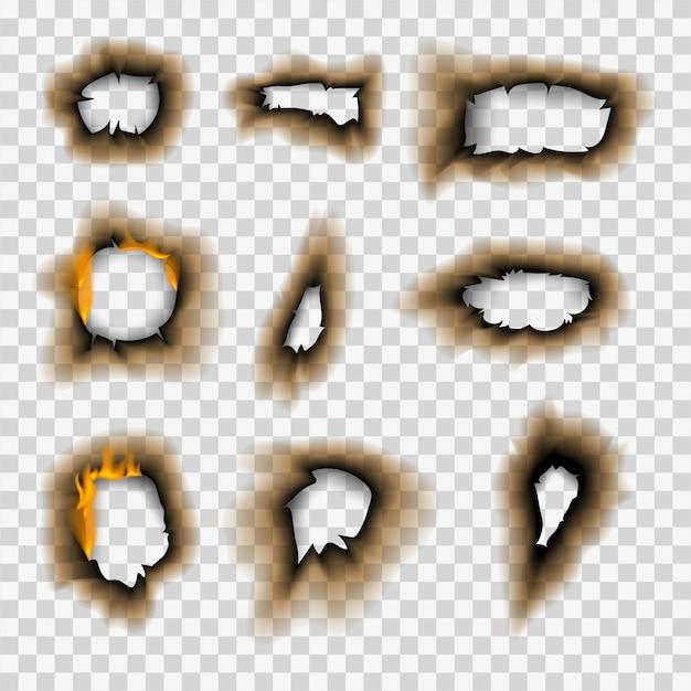 Pedaço queimado queimado papel desbotado buraco realista fogo chama isolada página folha rasgada cinza ilustração vetorial Vetor Premium