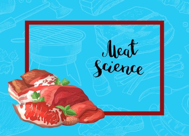 Pedaços de carne de desenhos animados quadro de retângulo com pilha de no canto com lugar para ilustração de fundo de texto Vetor Premium