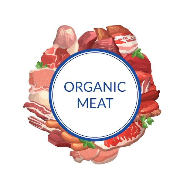 Pedaços de carne dos desenhos animados sob o círculo com lugar para ilustração de texto. quadro de carne isolado Vetor Premium