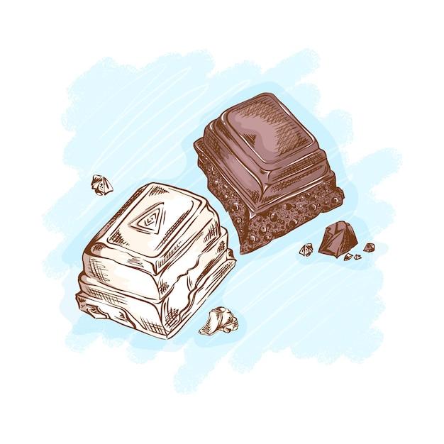 Pedaços de chocolate preto e branco. doces e sobremesas para chá. desenho linear desenhado à mão Vetor Premium