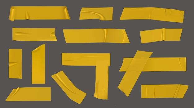 Pedaços de fita adesiva amarela Vetor grátis