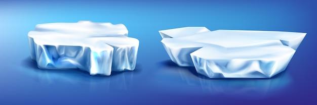 Pedaços de iceberg de blocos de gelo, geleira na superfície azul da água congelada com reflexão. Vetor grátis