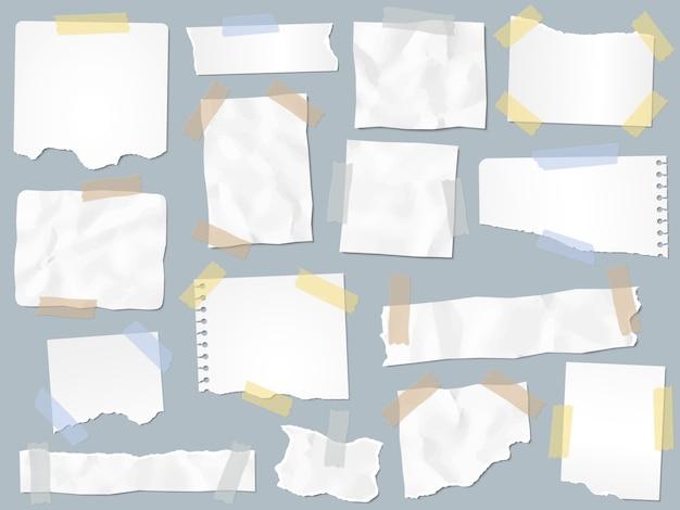 Pedaços de papel em fita adesiva. vintage papéis rasgados em fitas adesivas, quadros de páginas de sucata e ilustração de página de nota de papel ofício Vetor Premium