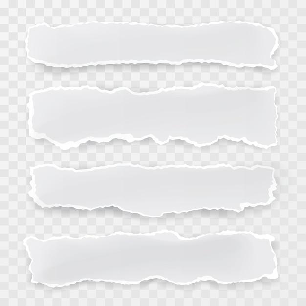 Pedaços de papel rasgado em fundo transparente Vetor Premium