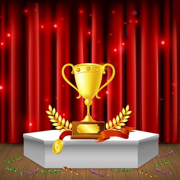 Pedestal branco com serpentinas de prêmios na composição realista de piso em fundo de cortina vermelha cintilante Vetor grátis