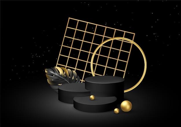 Pedestal preto realista sobre um fundo de seda preta com folhas de palmeira de elementos dourados. Vetor Premium