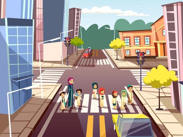 Pedestres, ligado, encruzilhada, de, árabe, muçulmano, mulher mãe, cruzamento rua, com, crianças Vetor grátis
