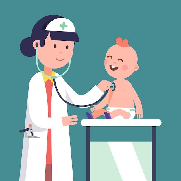 Pediatra, doutor, mulher, examinando, bebê, menino Vetor grátis