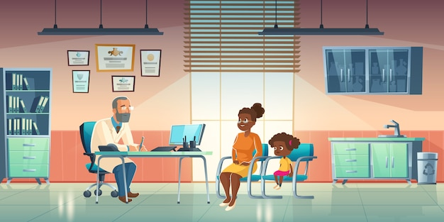 Pediatra e mulher com menina no consultório médico Vetor grátis