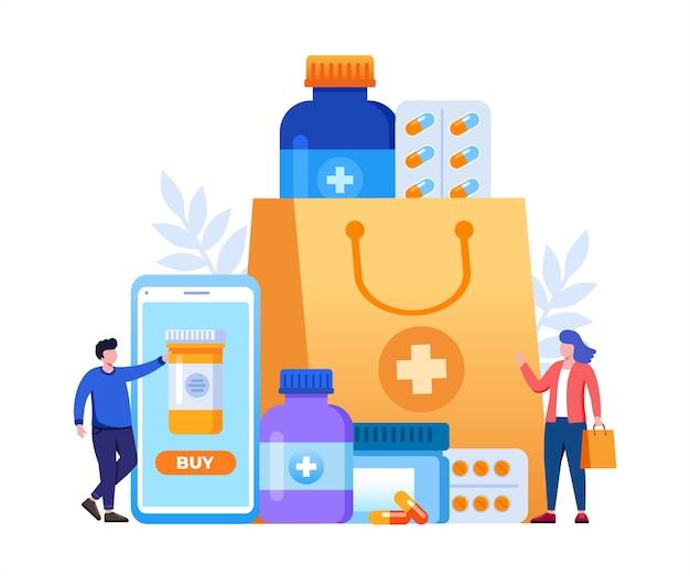 Pedidos de medicamentos de farmácia online com sacola de compras e pessoas pequenas Vetor Premium