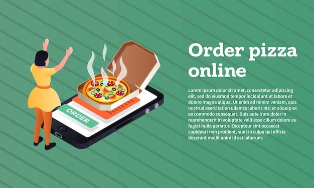 Pedir a bandeira de conceito on-line de pizza, estilo isométrico Vetor Premium