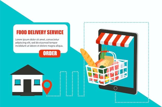 Pedir comida, entrega de supermercado em casa e aplicativo para smartphone Vetor Premium