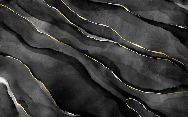 Pedra aquarela preta com veios dourados Vetor grátis