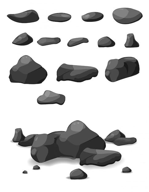 Pedra rock grande conjunto de desenhos animados Vetor Premium