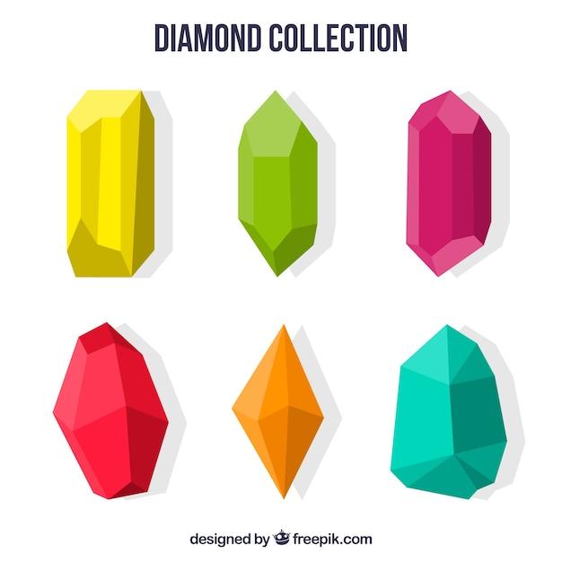 Pedras preciosas coloridas em design plano Vetor grátis