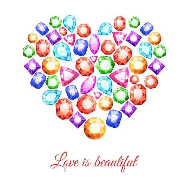 Pedras preciosas coloridas em forma de coração com amor é bela letras Vetor grátis