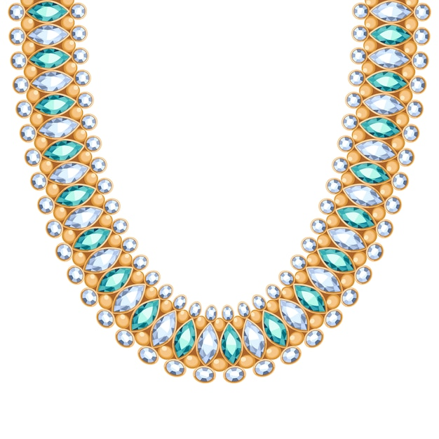 Pedras preciosas, diamantes e esmeraldas, corrente ou pulseira de ouro. acessório de moda pessoal estilo étnico indiano. Vetor Premium