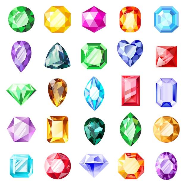 Pedras preciosas. gemas de cristal de jóias, pedras preciosas preciosas de jóias com diamantes, gemas brilhantes de luxo. conjunto de ícones de ilustração de jóias de cristal. gemstone de cristal, coleção brilhante de jóias Vetor Premium