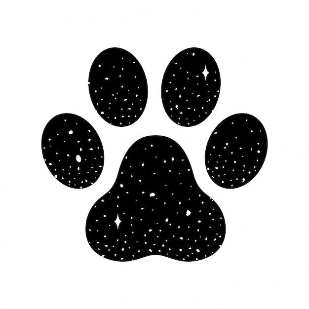 Pegada de vetor de pata de cão Vetor Premium