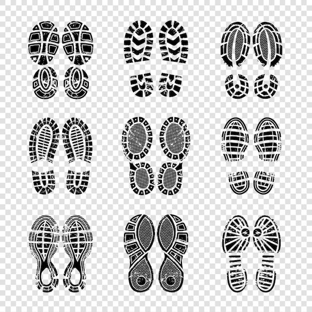 Pegada humana. botas para caminhada solas passos silhuetas vetor modelo impressão textura Vetor Premium
