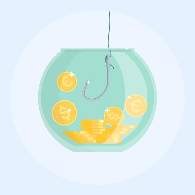 Pegando dinheiro com anzol de pesca no aquário. moedas de dólar e euro. Vetor Premium