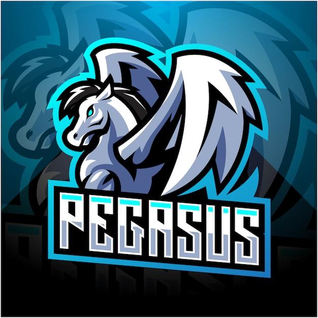 Pegasus esport mascote design de logotipo Vetor Premium