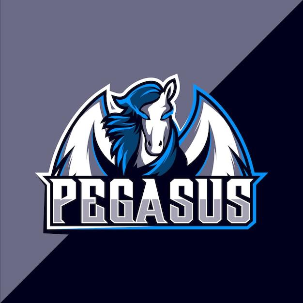 Pegasus mascot esport design de logotipo Vetor Premium