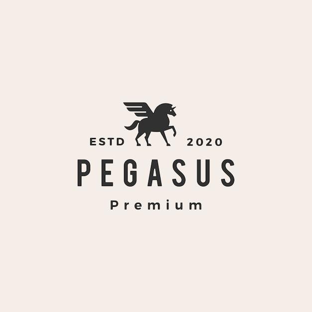 Pegasus unicórnio asa hipster logotipo vintage icon ilustração Vetor Premium