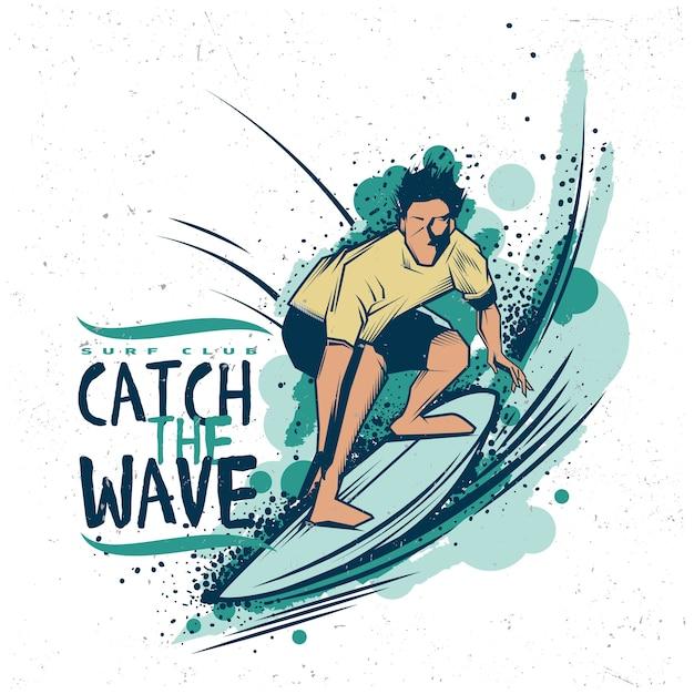 Pegue a ilustração da onda Vetor grátis