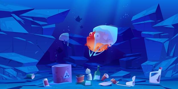 Peixe-balão em saco plástico debaixo d'água no mar ou oceano. poluição dos oceanos por lixo, lixo global. Vetor grátis