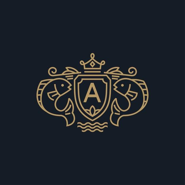 Peixe brasão de armas com logotipo da coroa Vetor Premium