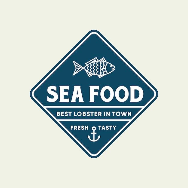 Peixe de frutos do mar para design de logotipo de linha de restaurante Vetor Premium