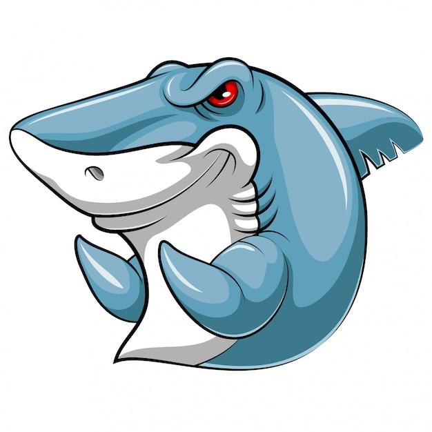 Peixe de mascote de um tubarão Vetor Premium