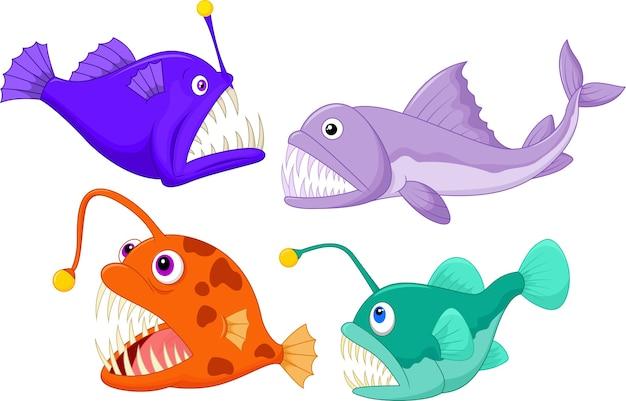 Peixe do mar profundo Vetor Premium
