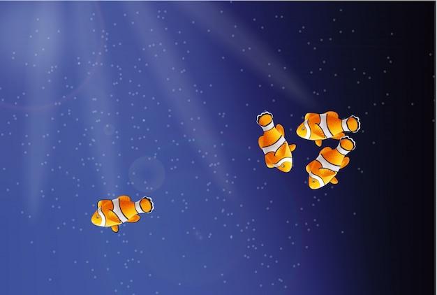 Peixe dourado debaixo d'água Vetor Premium