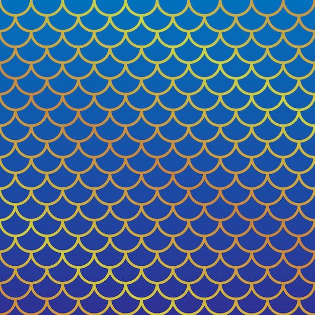 Peixe feminino padrão de escala. ilustração vetorial Vetor Premium
