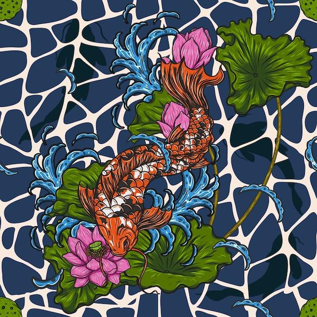 Peixe koi com padrão de lótus sem costura à mão de desenho Vetor Premium