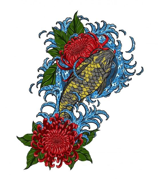 Peixe koi com tatuagem de vetor de crisântemo por desenho de mão Vetor Premium