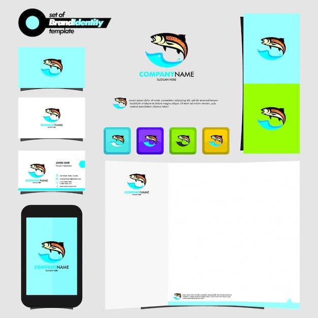 Peixe, logotipo, modelo, com, marcando, papelaria Vetor Premium
