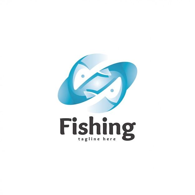 Peixe moderno abstrato logotipo ícone Vetor Premium