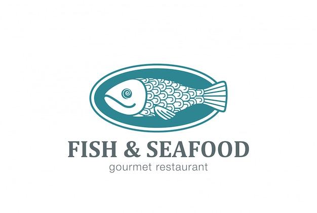 Peixe no prato ícone de vetor de logotipo Vetor grátis