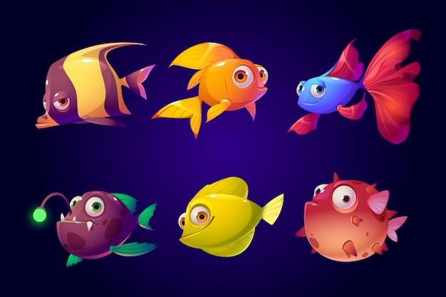 Peixes do mar, conjunto de criaturas tropicais aquário colorido Vetor grátis
