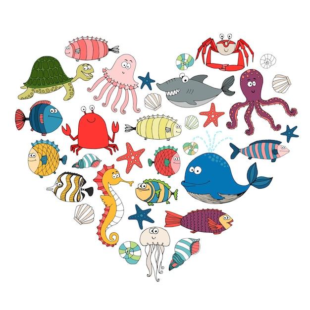 Peixes e animais marinhos em forma de coração, Vetor grátis