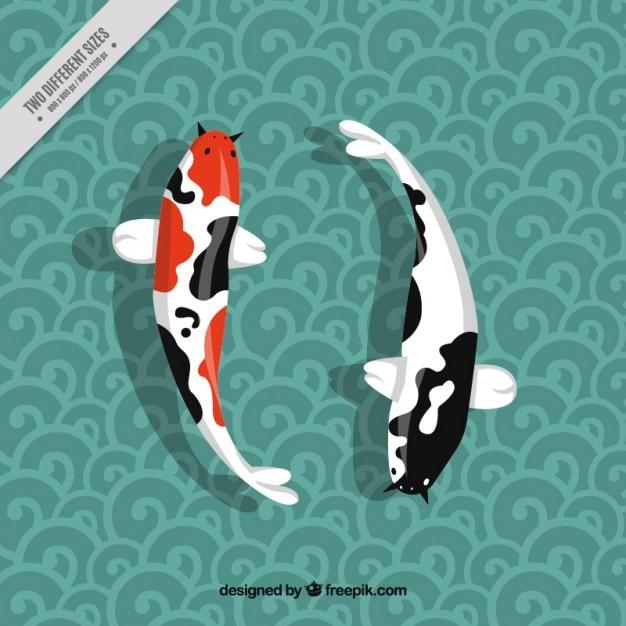 Peixes japoneses no fundo decorativo Vetor grátis