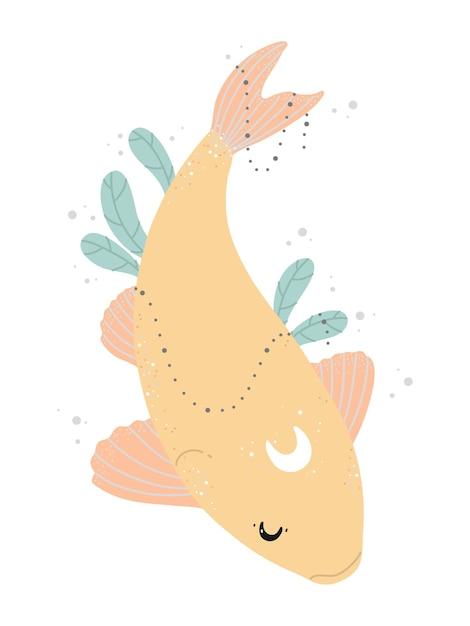 Peixes koi japoneses, lua e plantas verdes Vetor Premium