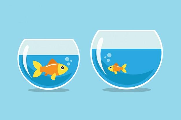 Peixinho dourado grande e pequeno, olhando um para o outro Vetor Premium