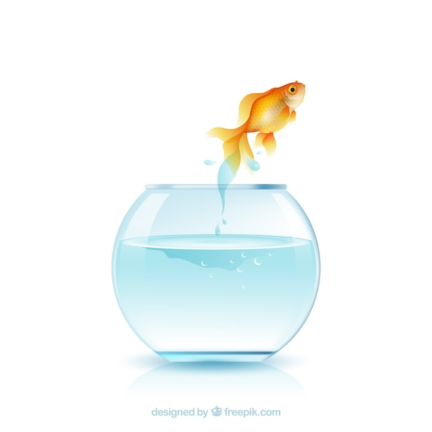 Peixinho pulando de aquário em estilo realista Vetor grátis