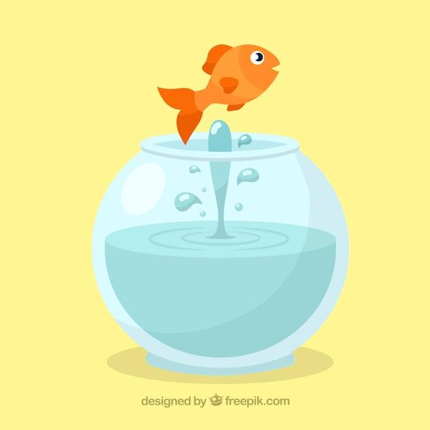 Peixinho pulando de aquário em estilo simples Vetor grátis