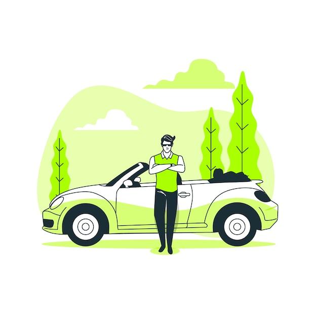 Pela minha ilustração do conceito de carro Vetor grátis